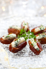 Dates stuffed with blue cheese for Christmas
