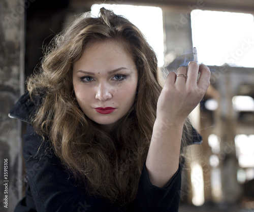beauty woman with cigarette
