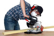 Man using a mitre saw