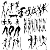 primitive art - various figures - vector
