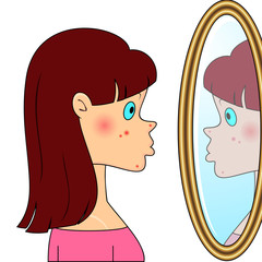 Teenager girl with acne
