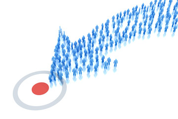 Arrow of people moves to the target