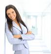 portrait of beautiful businesswoman leaning