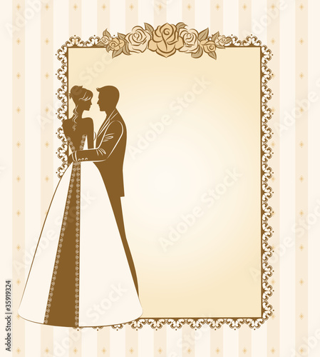 Illustration of beautiful bride and groom. Vector