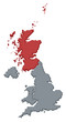 Dettagli della fotografia Map of United Kingdom, Scottland highlighted