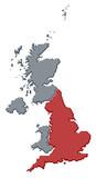 mapa spojené království, anglie, zvýrazněné