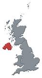 mapa velká británie, severní irsko, zvýrazněné