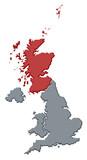 mapa velká británie, scottland, zvýrazněné