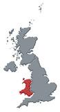 mapa spojené království, wales zdůraznil
