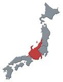 Map of Japan, Chubu highlighted