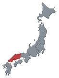 mapa japonska, chugoku zvýrazněné