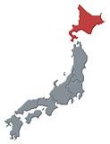 Map of Japan, Hokkaido highlighted