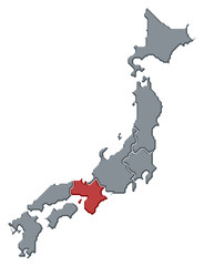 Map of Japan, Kinki highlighted