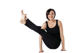 Happy woman exercise yoga asana