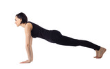woman doing yoga pose isolated