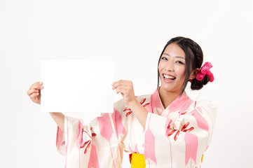 japanese kimono woman with blank whiteboard