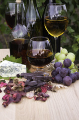 Wine and brandy, cheese and chocolate