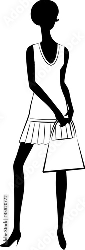 Vintage silhouette of girl with bag.