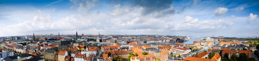 Panoramic of Copenhagen, Denmark. Cloud sky