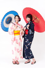 japanese kimono women with umbrella