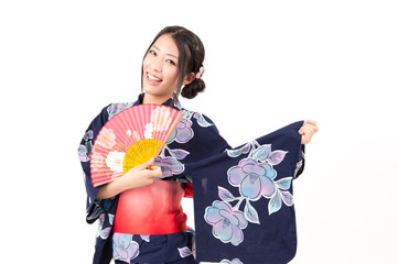japanese kimono woman with pink fan