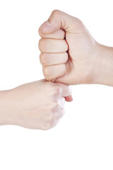 Two fists in contact