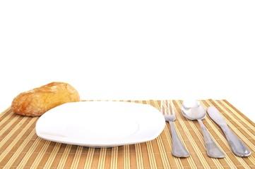 Mesa preparada para comer.