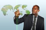 Businessman Touching World Hologram poster