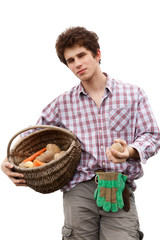 young agriculturist isolated on white background