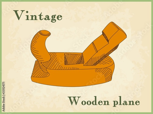 hand drawn wooden plane, handplane
