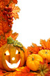 Vertical border with jack-o-lantern and fall leaves