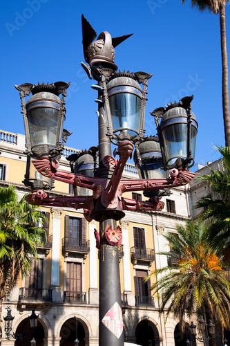 Traditional Barcelona street light at Plaza Real, Barcelona
