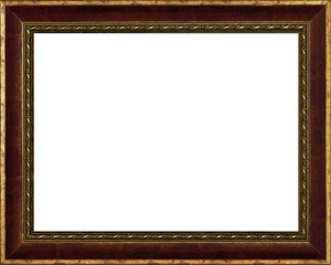 old time vintage golden rustic high quality frame isolated over