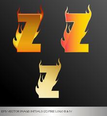 eps Vector image: initials (z)  metallic fire logo Ⅴ