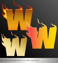 eps Vector image: initials (w)  metallic fire logo Ⅴ