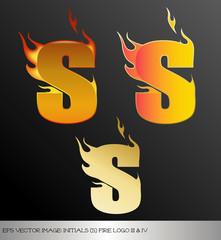 eps Vector image: initials (s)  metallic fire logo Ⅴ