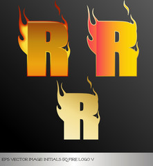 eps Vector image: initials (r)  metallic fire logo Ⅴ