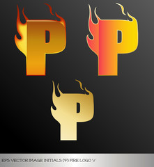 eps Vector image: initials (p)  metallic fire logo Ⅴ