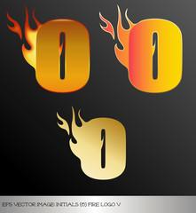 eps Vector image: initials (o)  metallic fire logo Ⅴ