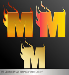 eps Vector image: initials (m)  metallic fire logo Ⅴ