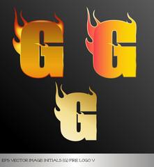 eps Vector image: initials (g)  metallic fire logo Ⅴ