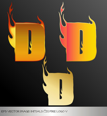 eps Vector image: initials (d)  metallic fire logo Ⅴ