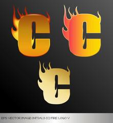 eps Vector image: initials (c)  metallic fire logo Ⅴ