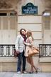 Romantic couple in Paris on the St. Louis island