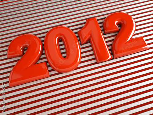 3d new year 2012 shape on striped background