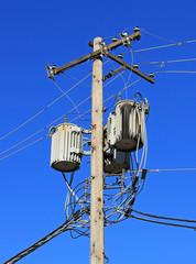 Old power grid electrical transformer box