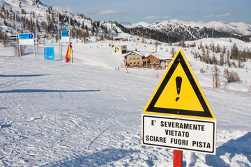 Safety in mountains. Ski resort Madonna di Campiglio. Italy..