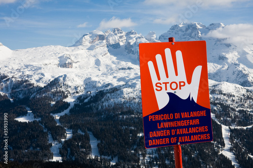 Safety in mountains. Ski resort Madonna di Campiglio. Italy.