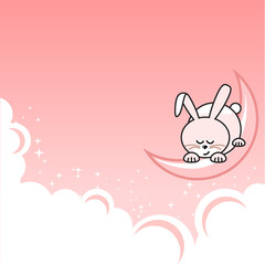 Small pink pretty rabbit sleeping on crescent