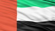 Realistic 3D detailed United Arab Emirates flag in the wind